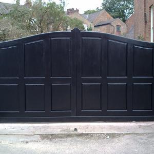 The Chorlton Panelled Gate - Painted sapele sliding gate (Courtesy of Country Gates)